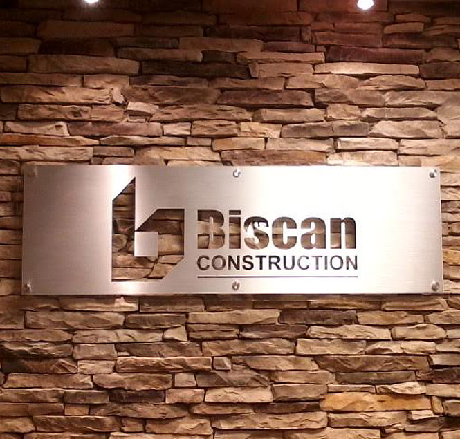 Biscan Construction interior sign