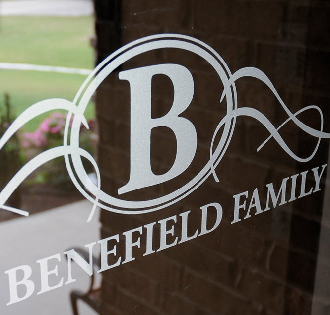 The Benefield Family etch glass window